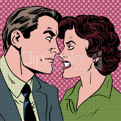 Conflict man woman family quarrel love hate pop art comics retro style Halftone