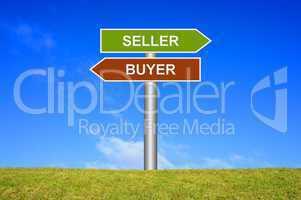 Schild Wegweiser: Seller Buyer