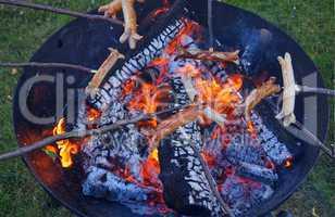 Würste grillen überm Lagerfeuer