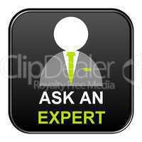 Schwarzer freigestellter Button - Ask an Expert