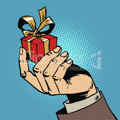 gift in his hand a small box pop art comics retro style Halftone