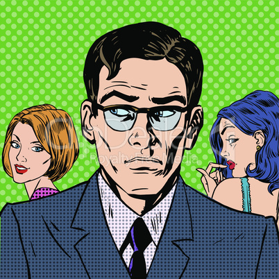 man chooses between two women relationships love emotion pop art comics retro style Halftone