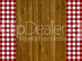 Holzhintergrund mit Tischdeckenstreifen rot weiß