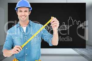 Composite image of male architect holding tape measure