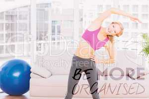 Composite image of blonde smiling at camera while stretching