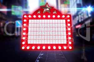 Composite image of lit up billboard