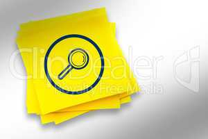 Composite image of magnifying glass graphic