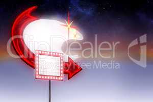 Composite image of neon sign with arrow