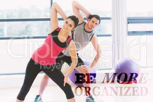 Composite image of two people doing power fitness exercise at yo