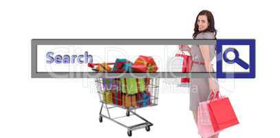 Composite image of elegant brown hair posing with shopping bags