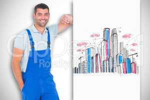 Composite image of happy repairman leaning on blank placard