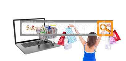 Composite image of rear view of a brunette woman raising shoppin