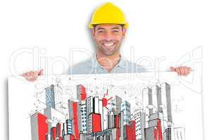 Composite image of happy handyman holding placard on white backg