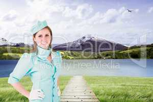 Composite image of air hostess