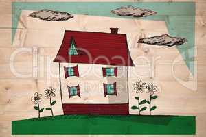 Composite image of hand drawn house