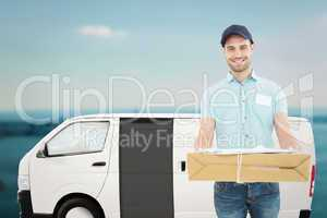 Composite image of handsome courier man with parcel