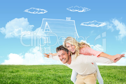 Composite image of handsome man giving piggy back to his girlfri