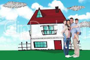 Composite image of parents giving piggyback ride to children ove