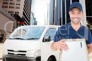 Composite image of happy delivery man with package and clipboard