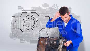 Composite image of confused mechanic repairing car engine