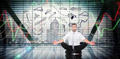 Composite image of businessman meditating in lotus pose