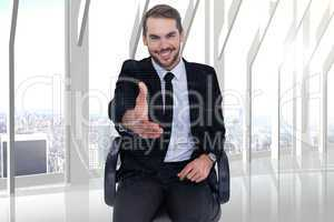 Composite image of smiling businessman on an chair office offeri