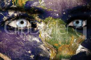 Earth overlay on face