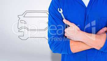 Composite image of male mechanic holding spanner on white backgr