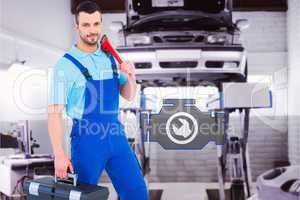 Composite image of repairman with toolbox and monkey wrench
