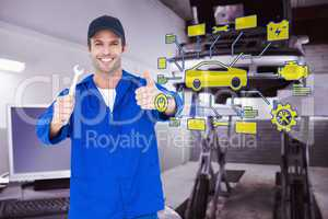 Composite image of happy mechanic holding spanner