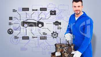 Composite image of smiling male mechanic repairing car engine
