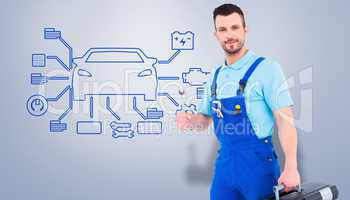Composite image of repairman with toolbox and spanner