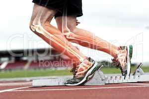 Highlighted bones of man about to race