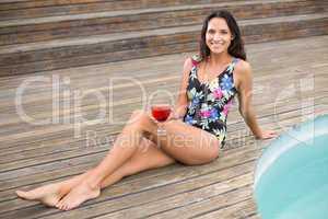 Beautiful woman in swimwear relaxing