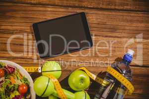 Tablet with indicators of healthy lifestyle