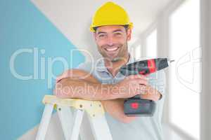 Composite image of male technician holding power drill on ladder