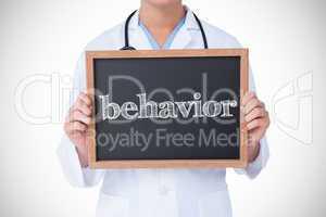 Behavior against doctor showing little blackboard
