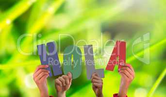 Composite image of hands holding up hola