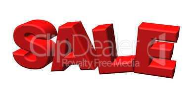 Word Sale written in red letters