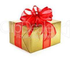 Goldenes Geschenk mit pfiffiger Schleife