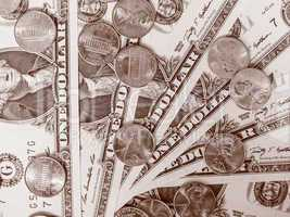 Retro look Dollar coins and notes