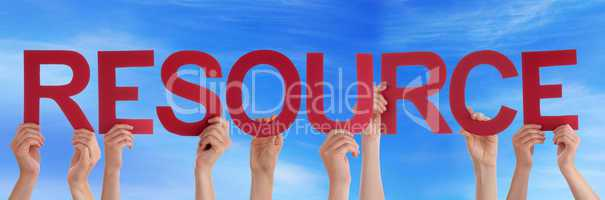Hands Holding Red Straight Word Resource Blue Sky