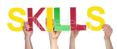 People Hands Hold Colorful Straight Word Skills