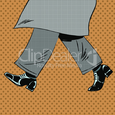 Male feet are shoes wind coat pop art comics retro style Halftone