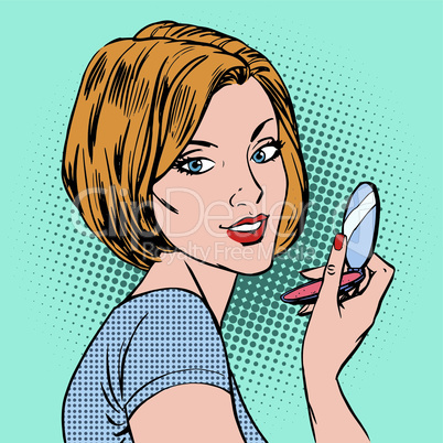 face of a girl with her compact mirror makeup woman pop art comics retro style Halftone