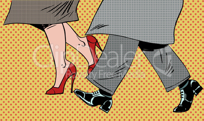 Feet man and woman Shoe go bad weather street pop art comics retro style Halftone