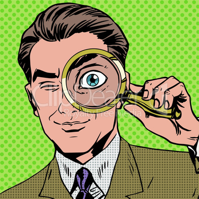 The man is a detective looking through magnifying glass search pop art comics retro style Halftone