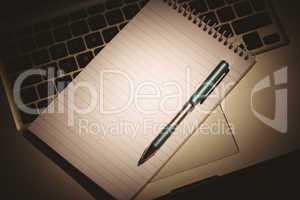 Notepad on laptop