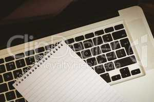 Notepad on laptop