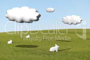 Three white rabbits on grass under cumulus clouds